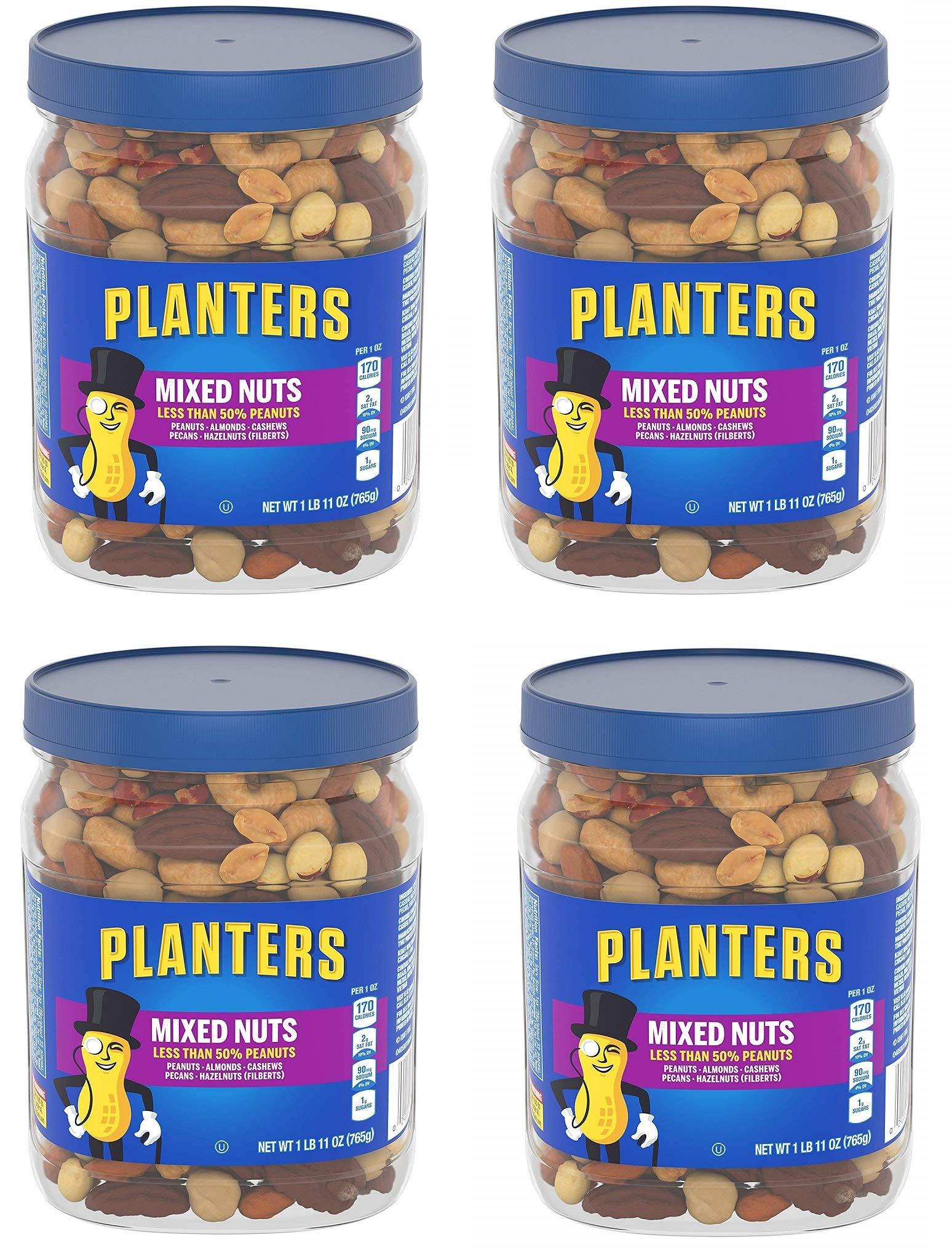 Planters Mixed Nuts, Regular Mixed Nuts, 4 Tubs