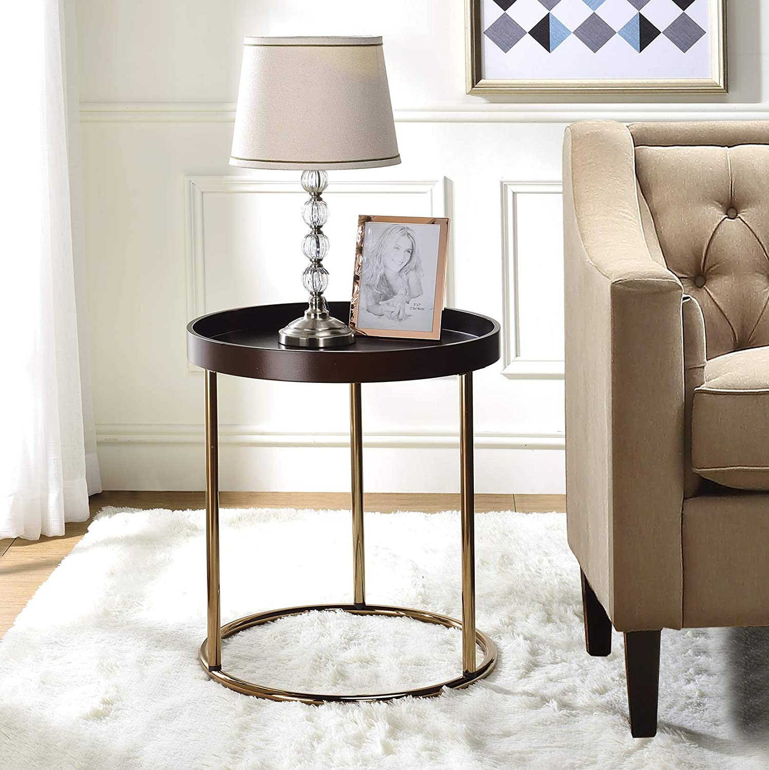 Roundhill Furniture Genoa Round Tray Table with Metal Frame, Espresso