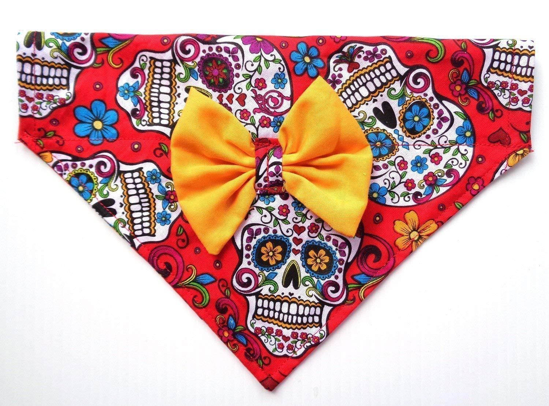 2 in 1 Bow and Bandanna Sugar Skull Day of the Dead Calavera Cinco de Mayo Print, Over the Collar Slip Thru Thread Through Style Neckwear Petwear