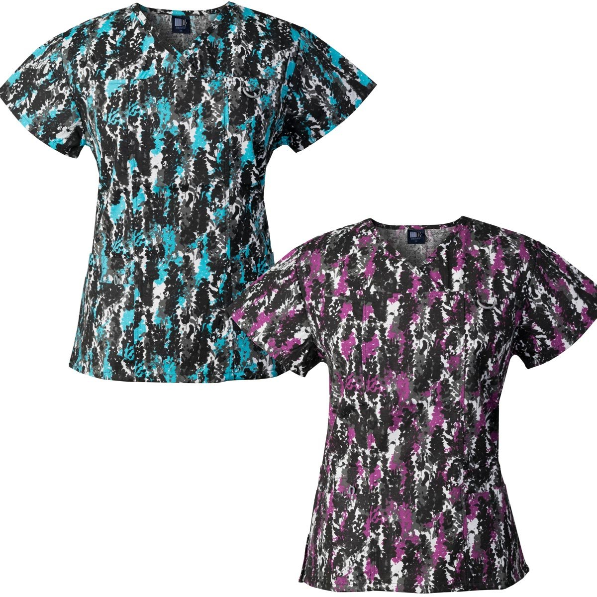 Medgear 2-Pack Womens Printed Scrub Tops with 4 Pockets & ID Loop (L)