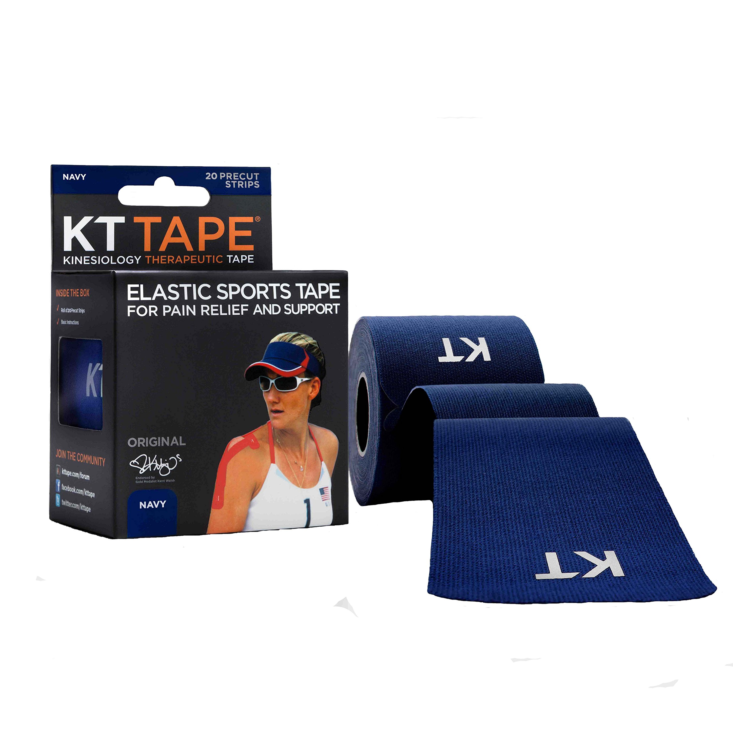KT Tape Original Cotton Elastic Kinesiology Therapeutic Sports Tape, 20 Pre cut 10 inch Strips, Navy