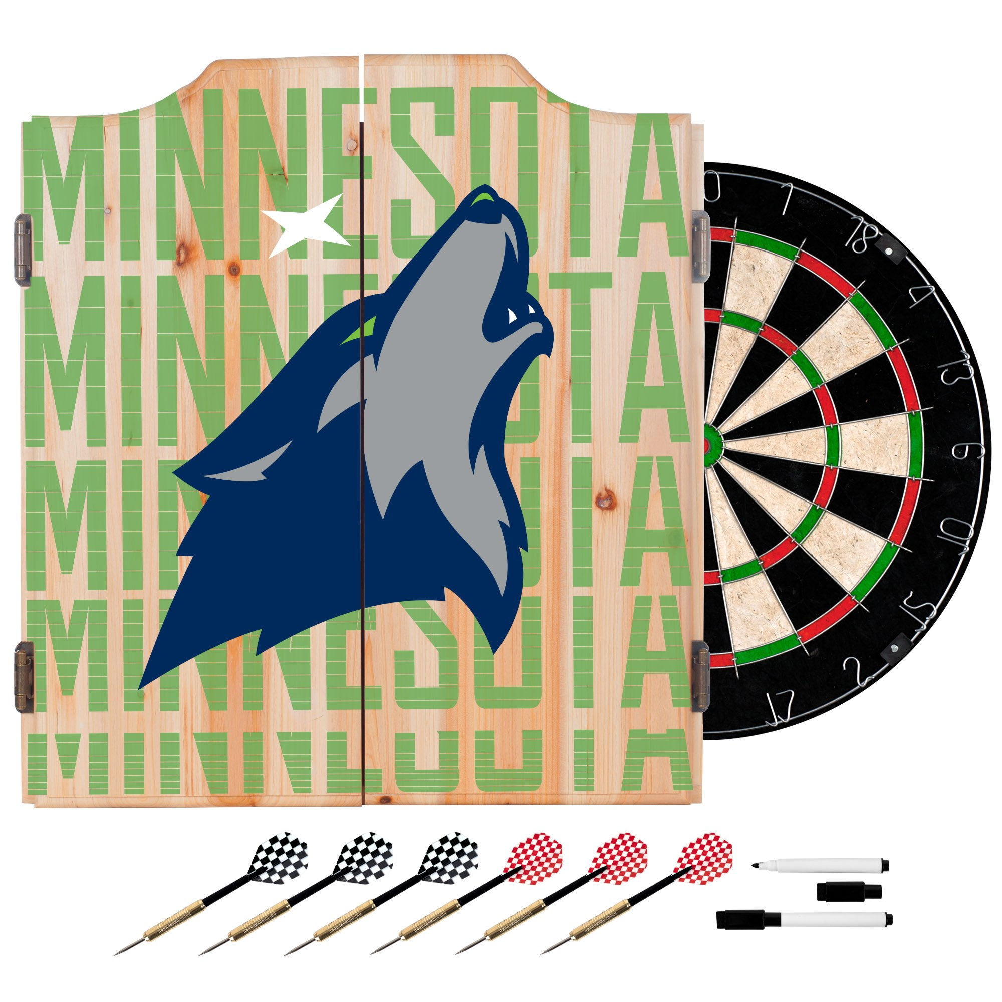 Trademark Gameroom NBA7010-MT3 NBA Dart Cabinet Set with Darts & Board - City - Minnesota Timberwolves