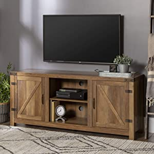 "WE Furniture W58BDSDRO Barn Door TV Stand 58"" Rustic Oak"
