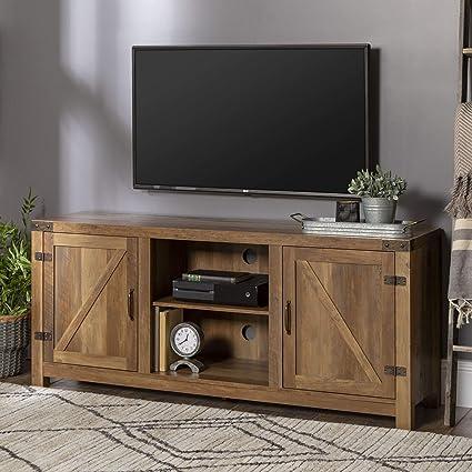 Amazon Com We Furniture W58bdsdro Barn Door Tv Stand 58 Rustic Oak