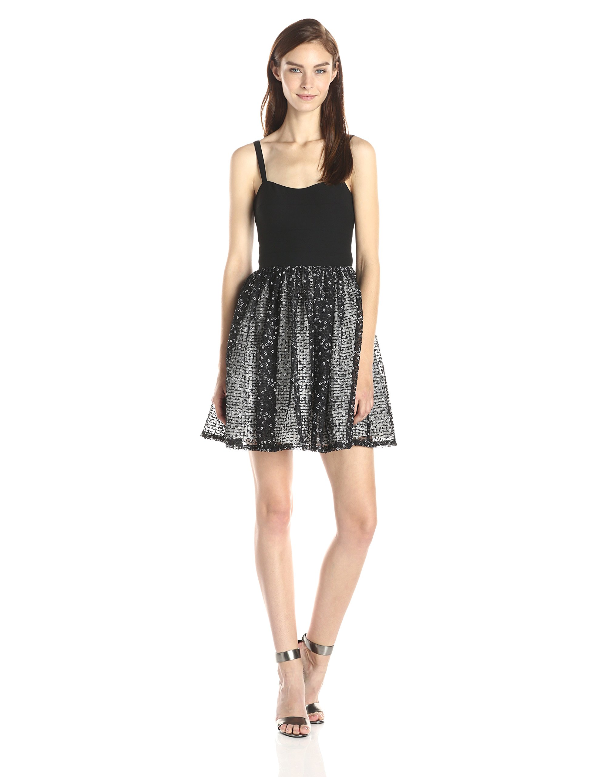 Aidan by Aidan Mattox Womens Cut-Out Stretch Top Dress with Lace Party Skirt
