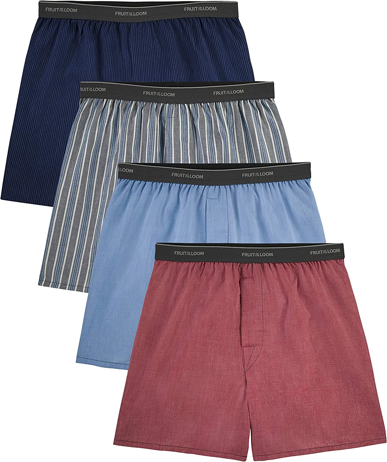Fruit of the Loom Men's 4 Pack Extended Size Boxers