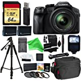 "Panasonic LUMIX DMC FZ300 4K Point and Shoot Camera with Leica DC Lens 24X Zoom Black + 64GB SD Card + 57"" Tripod + Gear Bag + 2 Batteries + Charger + Filter + Cleaning Kit + DigitalAndMore Accessorie"