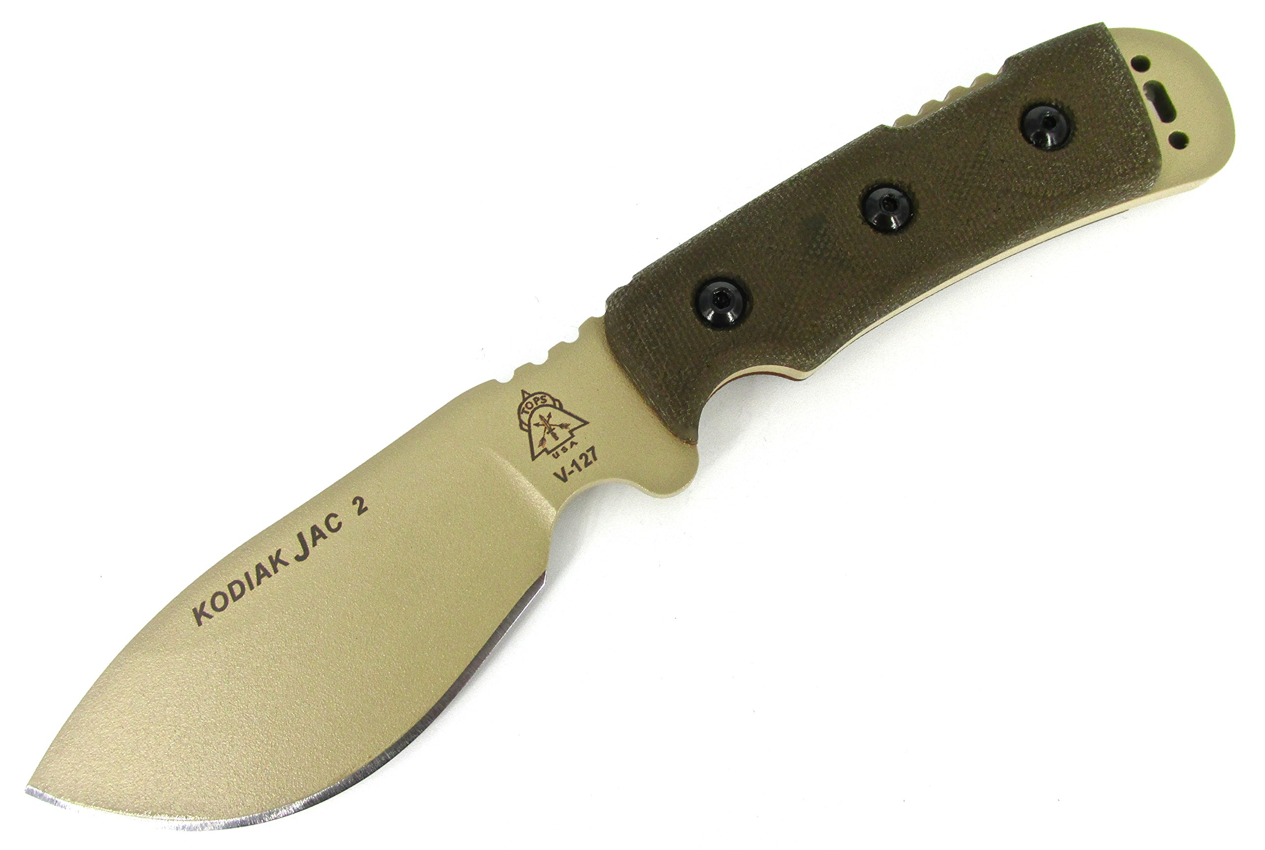 TOPS Knives Kodiak Jac 2 Fixed Blade Knife Coyote Tan Blade W/Green Micarta Handle KJAC-02