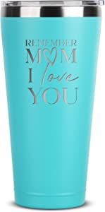 Remember Mom I Love You - 30 oz Mint Insulated Stainless Steel Tumbler w/ Lid Mug for Women - Birthday Mothers Day Christmas Gift Ideas from Daughter Son - Moms Mother Gifts Idea from Kids Children
