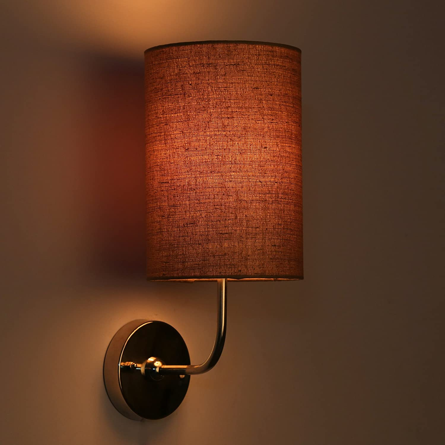 Craftter Matka Silk Hand loom Fabric Brown Colour Round Wall Lamp Wall Sconce and Wall SpotLight…