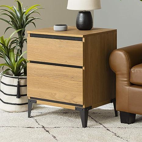 Amazon.com: Walker Edison Modern Wood Rectangle Side Living Room Storage Small End Table, 2 Drawer, English Oak: Furniture & Decor