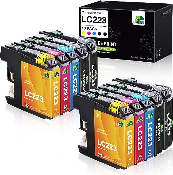 JARBO Compatible Brother LC223 XL Cartuchos de tinta Gran Capacidad para Brother DCP-4120DW DCP-J562DW MFC-J480DW MFC-J680DW MFC-J880DW MFC-J4420DW MFC-J4620DW MFC-J4625DW MFC-J5320DW MFC-J5620DW MFC-J5625DW MFC-J5720DW (2 Negro, 1 Cian, 1 Magenta, 1 ...