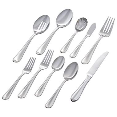 Stone & Beam Traditional Stainless Steel Flatware Silverware Set, Service for 12, 65-Piece, Silver with Royal Trim
