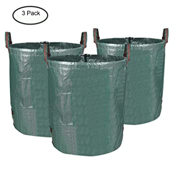 MVPOWER Set de 3pcs x 272L de Bolas de Residuos para Jardín Bolsas de Basura de Desechos de Jardín Bolsa Resistente y Plegable para Hoja Césped ...