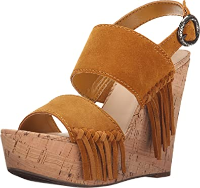 GUESS Women's Shanan Yellow Suede Sandal 9.5 M