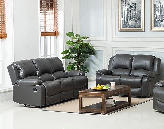 The Sofa And Bed Factory Juego de sofá reclinable de piel de ...