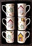 Beach Hut Mugs Bone china set of 6 gift boxed