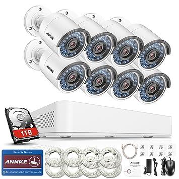 ANNKE Kit de seguridad 8CH 960P PoE NVR simplificado y 8 Cámara IP de seguridad para