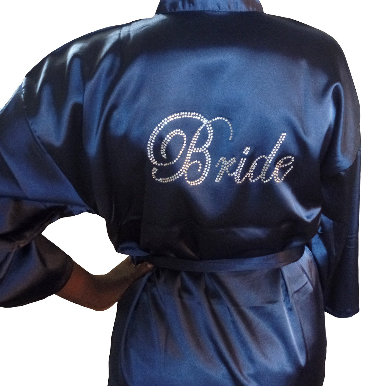 Gifts Are Blue Womens Short Kimono Solid Satin Lounge Robe