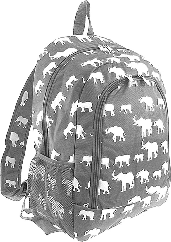 Elephant Print Full Sized Backpack (Grey)