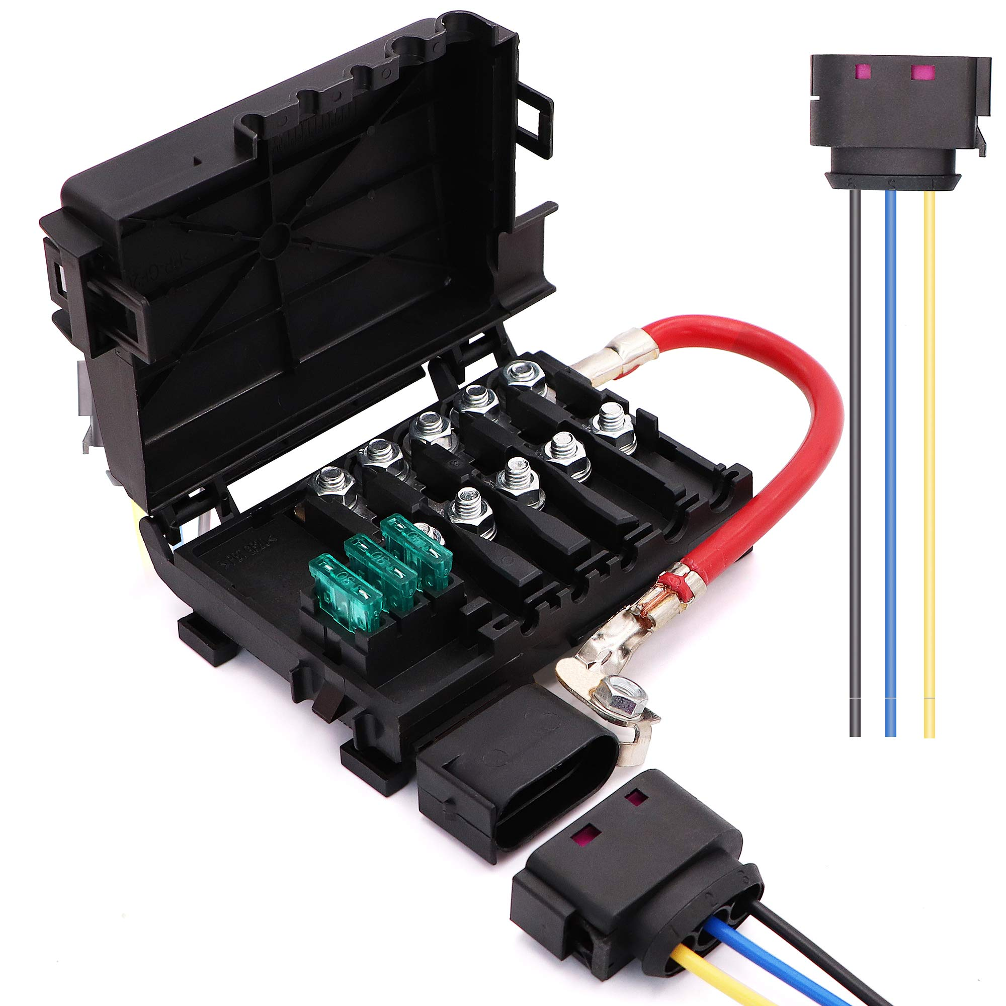 battery fuse box terminal 1j0937550 compatible with 99-04 vw beetle jetta  bora golf mk4 with wiring harness pigtail connector- buy online in bulgaria  at bulgaria.desertcart.com. productid : 170803987.  desertcart