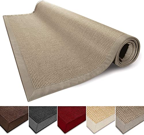 casa pura Sisal Rug 100 Natural Fiber Area Rug Non-Skid Eco-Friendly Throw Carpet for Entryway, Dining or Living Room and Sizes Cork- 2.6 x 9