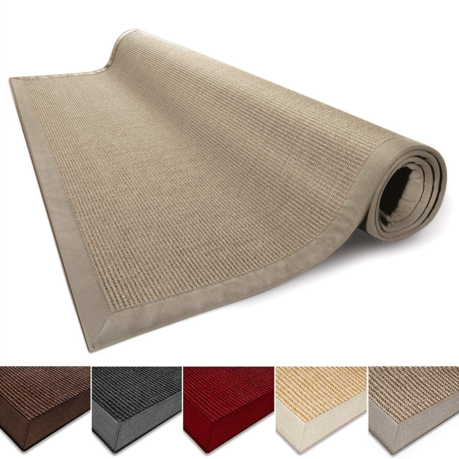 casa pura Sisal Rug Runner - 100% Natural Fiber Area Rug   Non-Skid Rustic Entryway Rug, Living Room Carpet or Kitchen Rugs and Sizes   Cork - 8' x 8'