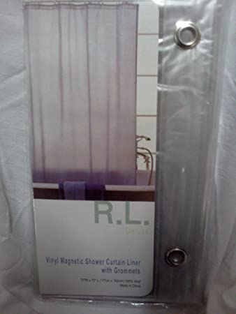 RL Plastics Vinyl Magnetic Shower Curtain Liner With Grommets, Clear