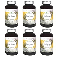 Aloha Medicinals - Pure Cordyceps - Certified Organic Mushrooms – Cordyceps Militaris – Cordyceps Sinensis - Supports Immunity, Energy and Stamina - 90ct Bottle (6-Pack)