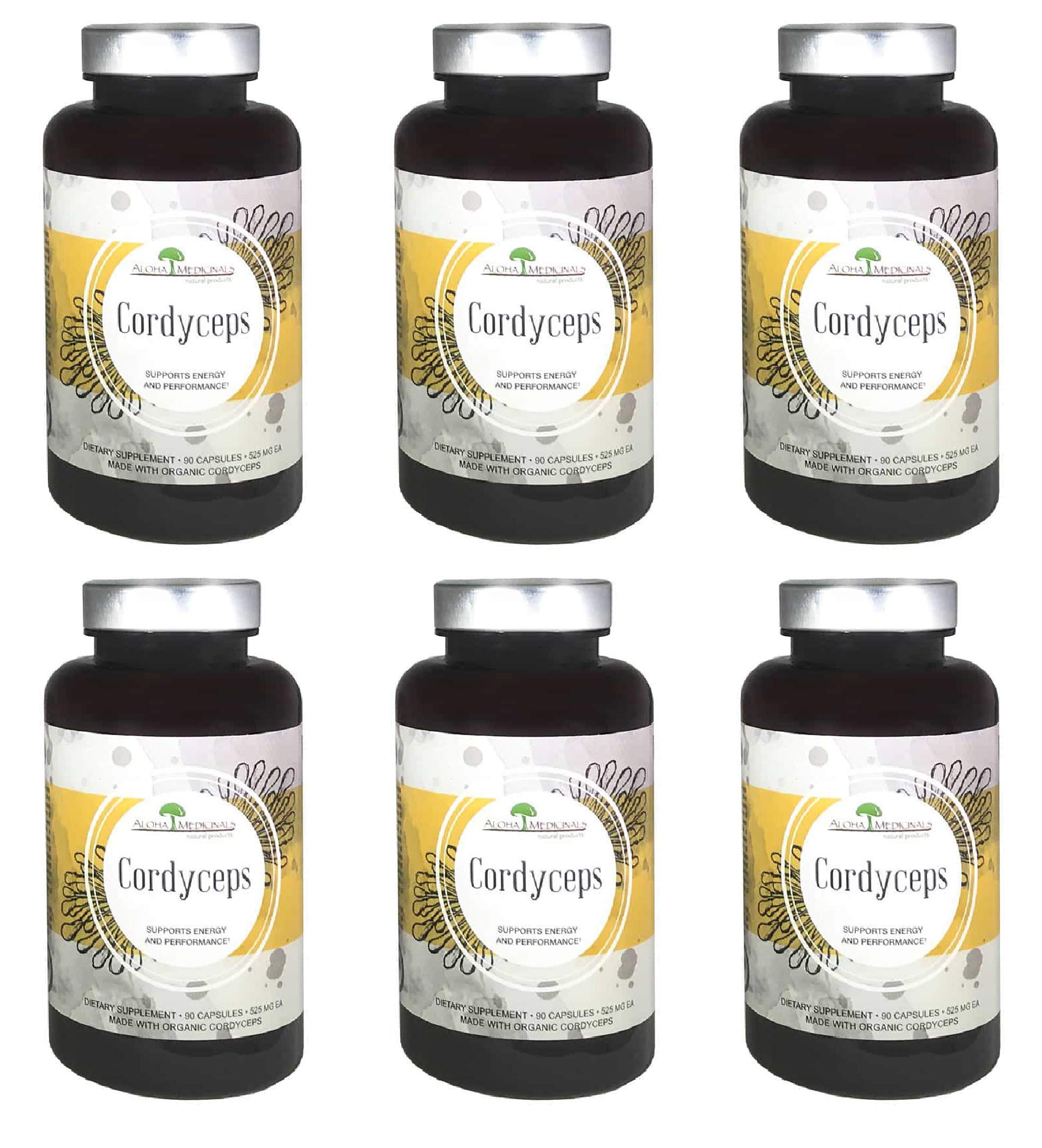Aloha Medicinals - Pure Cordyceps - Certified Organic Mushrooms – Cordyceps Militaris – Cordyceps Sinensis - Supports Immunity, Energy and Stamina - 525mg - 90 Vegetarian Capsules (6 Pack)
