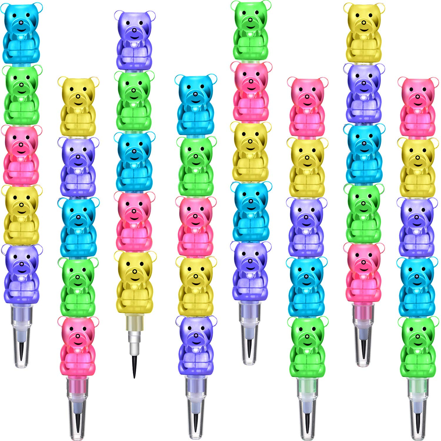 30 Pieces Stackable Pencils Plastic Bear Pencils 5 in 1 Stacking Colored Pencils Party Favors for Birthday Party Supplies by Boao