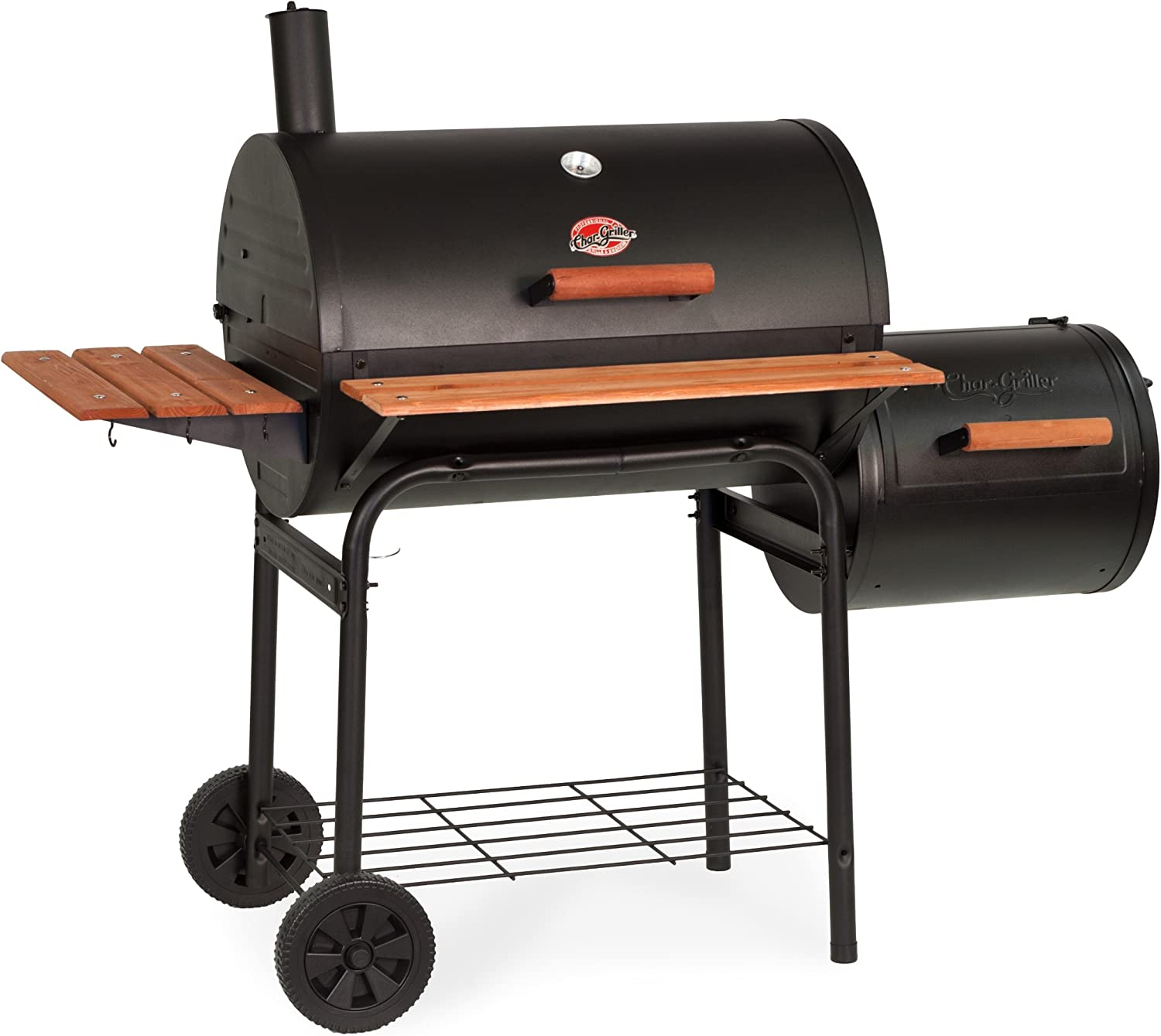 Best Engineered Smoker: Char-Griller E1224 Charcoal Grill with Side Fire Box, Black
