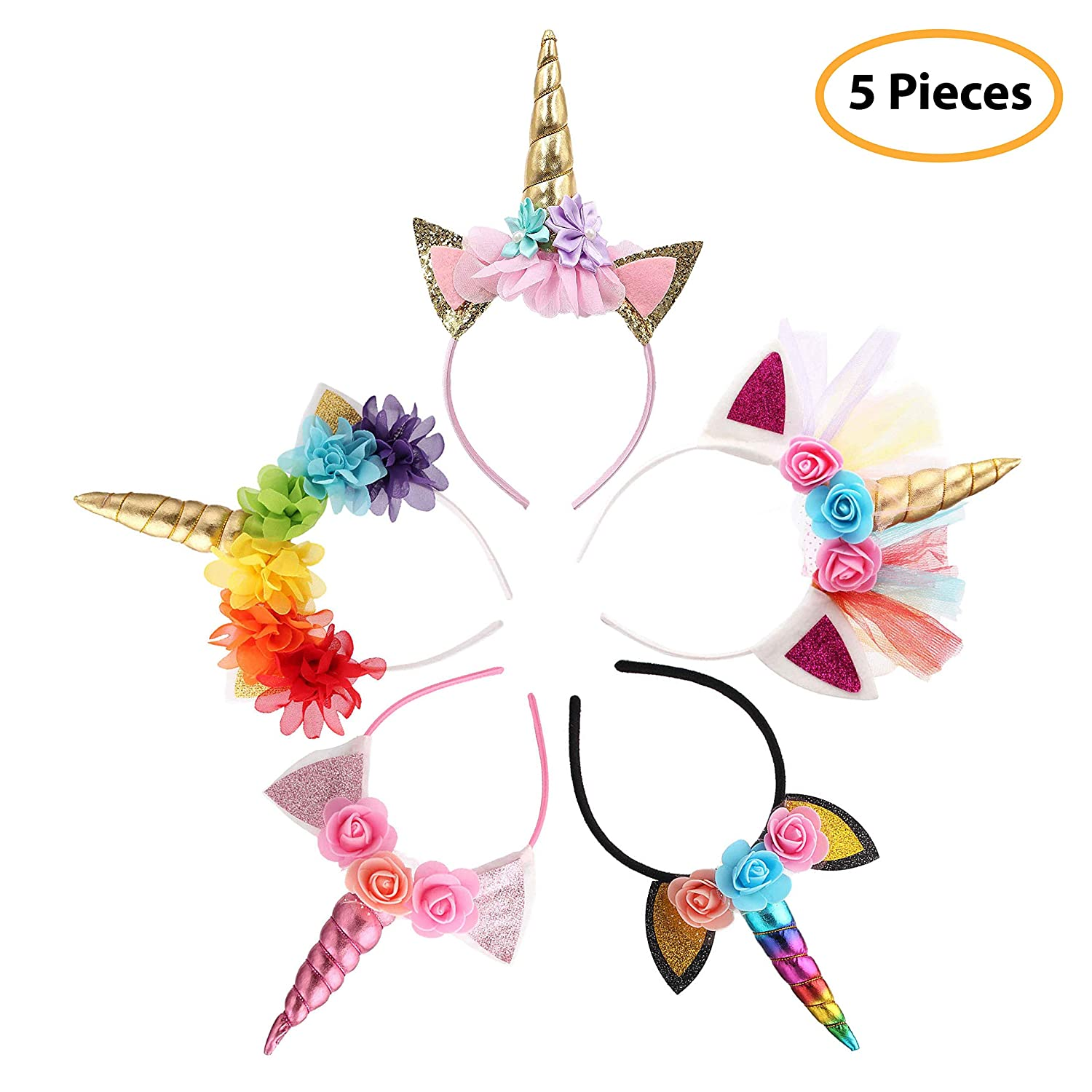 Unicorn Headband Unicorn Party Supply Party Favor Girl Hair Accessory 5 Pack