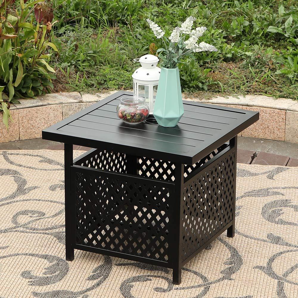 PHI VILLA 22'' x 22 '' Outdoor Umbrella Side Table Stand Patio Bistro Table with Umbrella Hole
