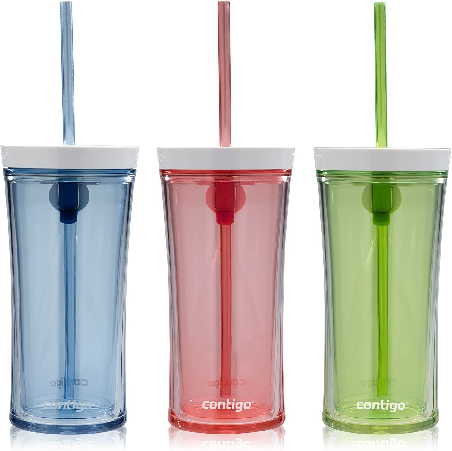 Contigo Shake & Go Water Bottles, 16oz, Monaco/Citron/Watermelon, 3-Pack