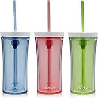Contigo Shake & Go Water Bottles, Monaco/Citron/Watermelon, 16oz, 3-Pack