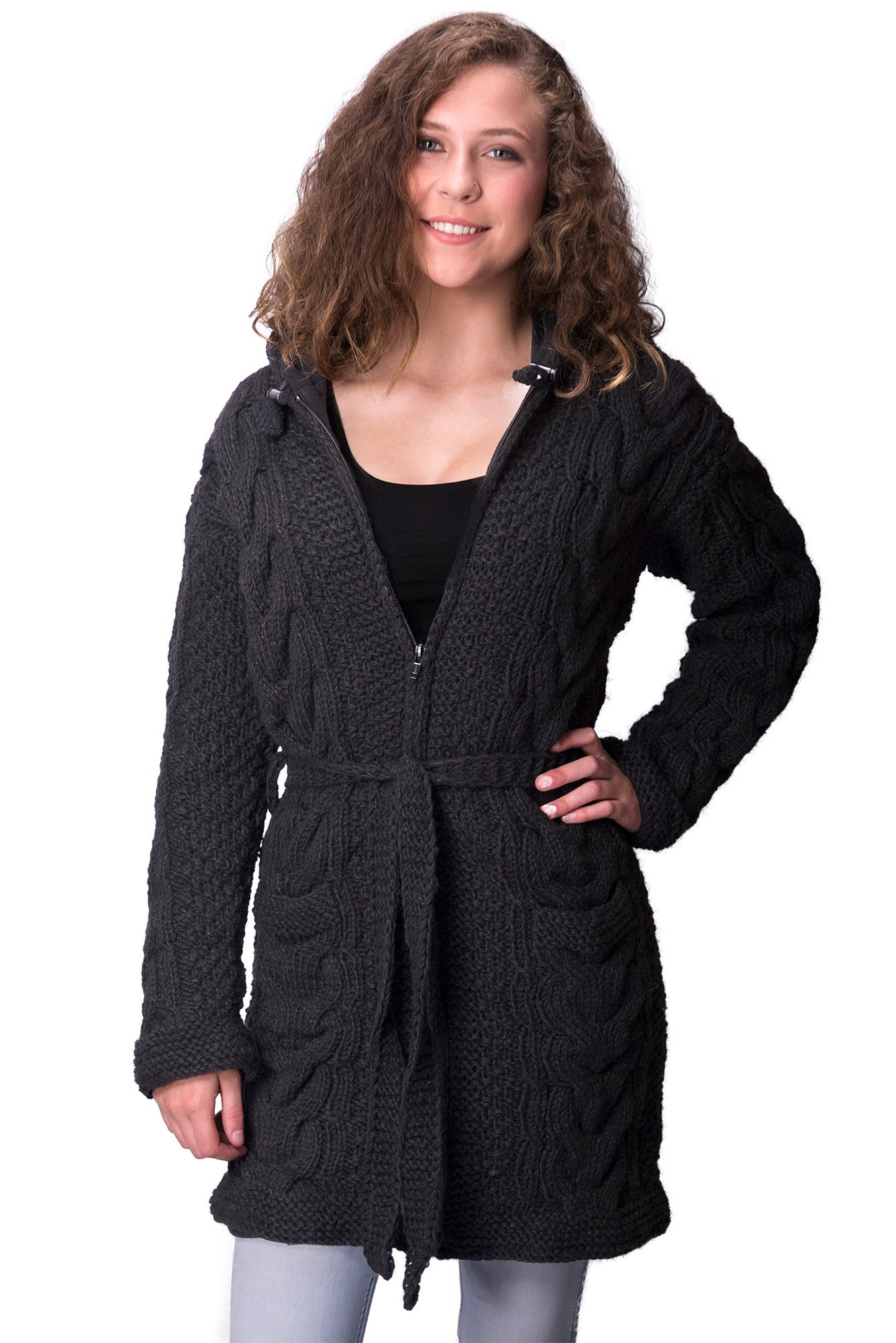 TCG Women's Winter Coat - Hand Knit Wool Outerwear Hoodie - Ex-Long, Black Cable