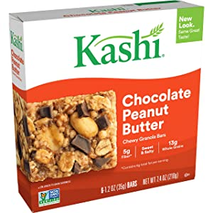 Kashi Chewy Chocolate Peanut Butter Granola Bars - Vegan, Box of 6 (Pack of 8)