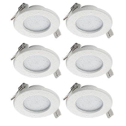 SEBSON® LED Einbaustrahler 230V flach, Badezimmer geeignet IP44, integrierter Treiber, 5W, rund, warmweiß (3000K), 400lm, Ein