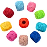 1000 Feet (c.333 yards) 2mm 3 ply Colourful Natural Jute Twine String Roll Collection - 10 Assorted Coloured Variety Pack for Artworks and Crafts, Gift Wrapping, Picture Display and Gardening