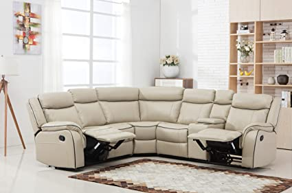 Divano Roma Furniture Large Classic And Traditional Two Tone Bonded Leather  Reclining Corner Sectional Sofa (