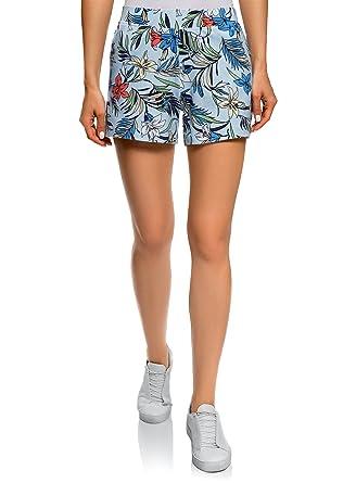 oodji Ultra Damen Bedruckte Baumwoll-Shorts  Amazon.de  Bekleidung 234159bf33