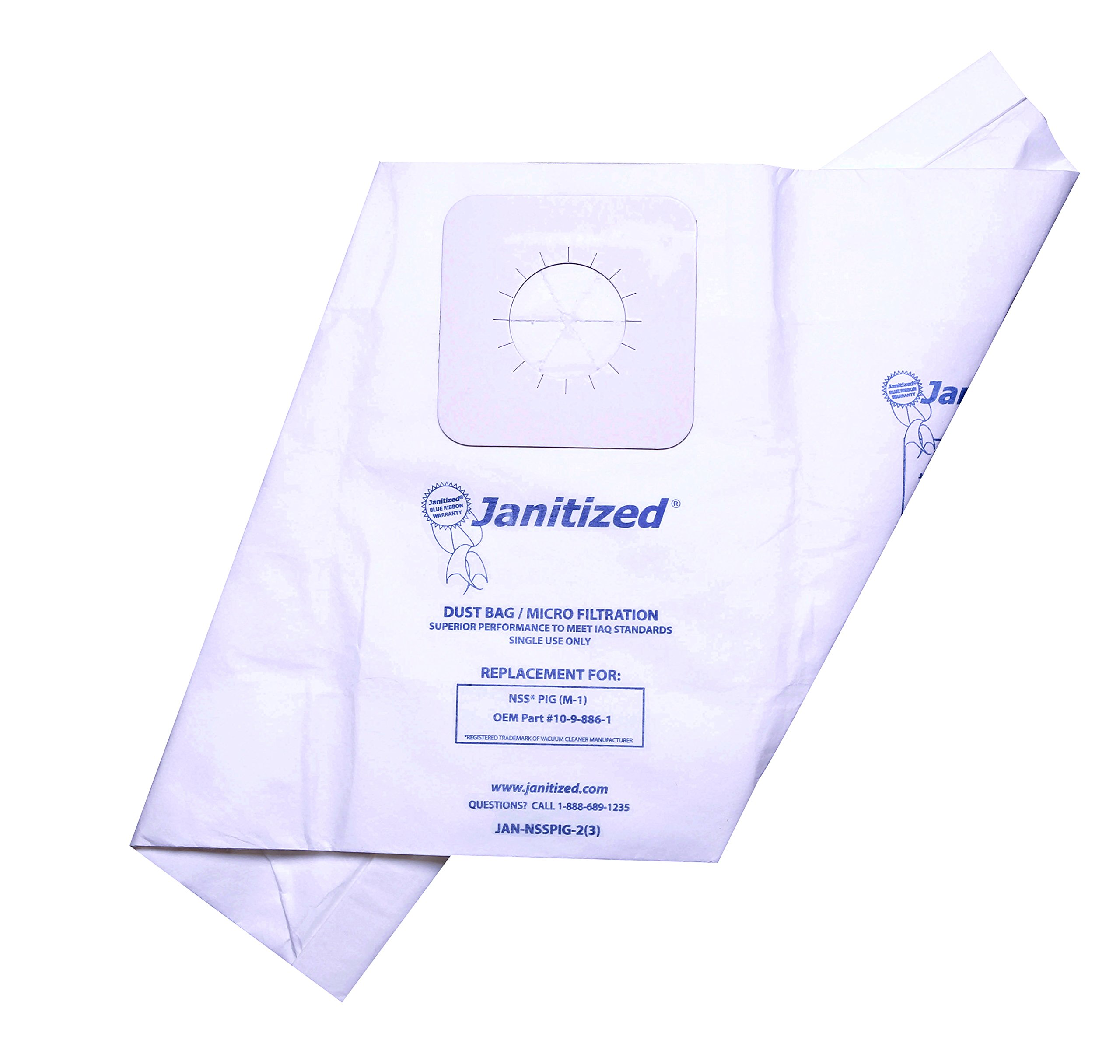 Janitized JAN-NSSPIG-2(3) Premium Replacement Commercial Vacuum Paper Bag for NSS M-1 ''Pig'' Portable Vacuum Cleaner, OEM#10-9-886-1 (Pack of 3)