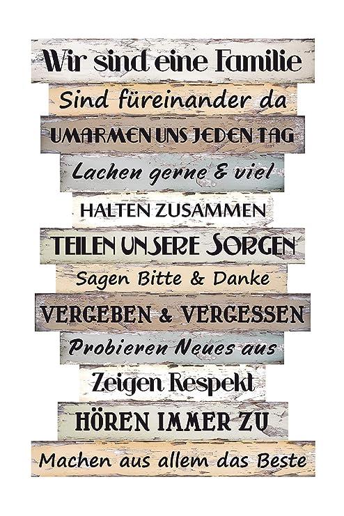 Bigdean Holzschild Wandbild Gross Familienregeln Mit Spruchen Wand