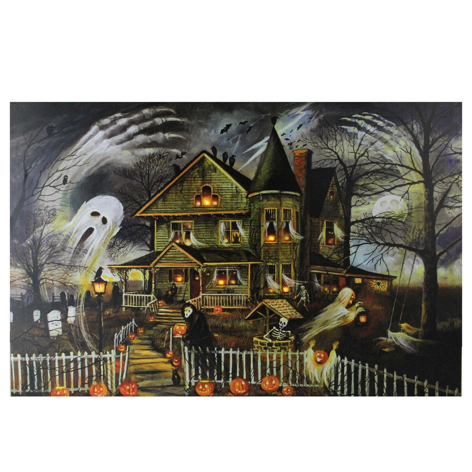 Northlight Large Creepy Haunted House Canvas Wall Art, Orange NJ01690