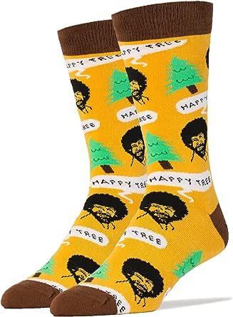 Men's Novelty Crew Socks, Funny Socks for Bob Ross, Crazy Socks, Casual Dress Cotton Socks