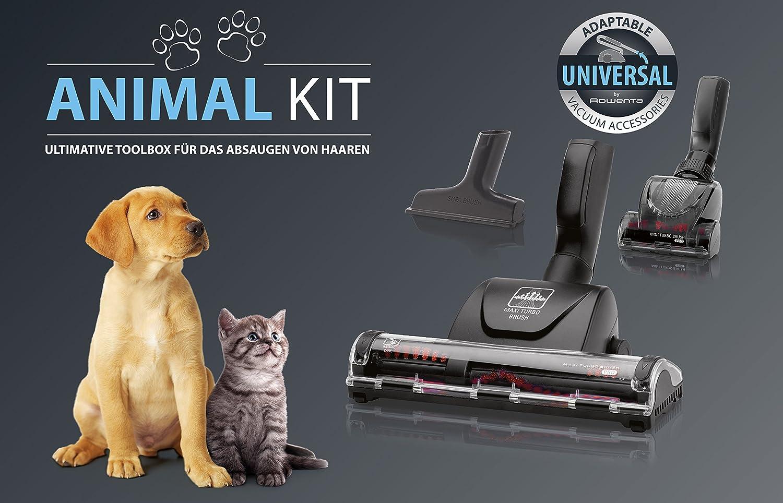 Rowenta Animal Care - Kit compuesto de 1 Maxi y 1 mini Turbo cepillo, 1 boquilla para tapicería y 2 adaptadores de 32 a 35 mm, plástico: Amazon.es: Hogar
