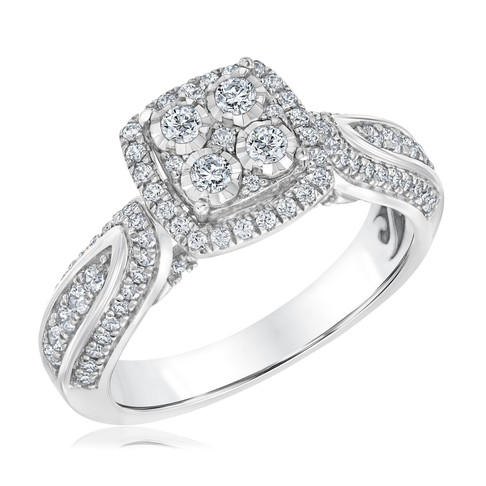 Multi-Top Miracle Plated Diamond Engagement Ring 3/4ctw - Size 7