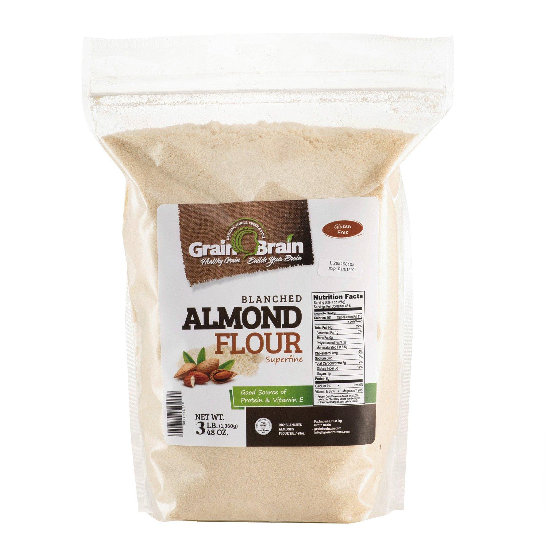 GRAIN BRAIN Blanched Almond Flour/Meal, Gluten Free, Non-GMO, Super Fine Grind, 3lb.
