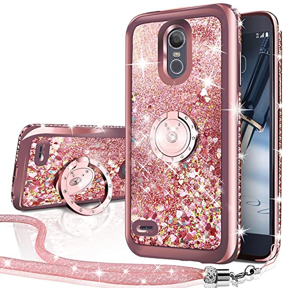 new product bb0a1 91a1c LG Stylo 3 Case,LG Stylo 3 Plus Case,Stylus 3 Case, Silverback Moving  Liquid Holographic Sparkle Glitter Case with Ring, Girls Women Bling  Diamond ...